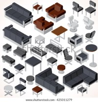 Isometric Office Furniture Vector Collection Set Stock ...