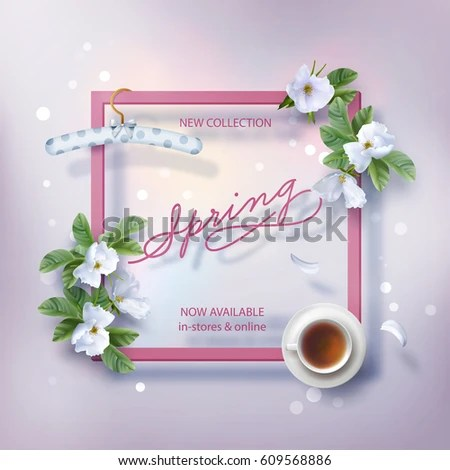 Spring Advertising Banner New Collection Flyer Stock Vector