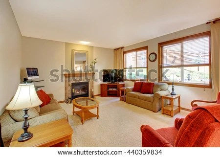 Beautiful Peach Red Living Room Interior Stock Photo 108401270 - peach living room