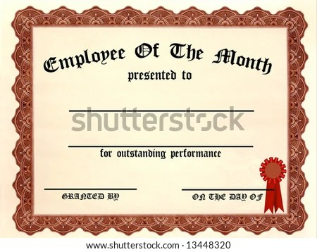 Employee Month Certificate Fill Blanks Stock Illustration 13448320 - free employee of the month certificate template
