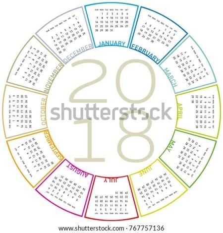 Colorful Calendar 2018 Circular Design Week Stock Vector (Royalty - circular calendar