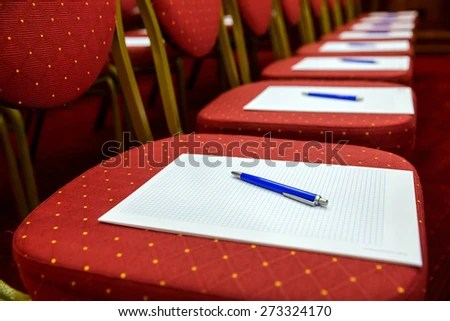 Closeup Notepad Pen Agenda On Chairs Stock Photo (Download Now - meeting note pad