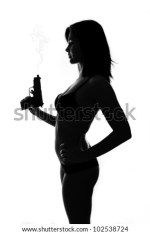 Bond Girl Silhouette With Gun