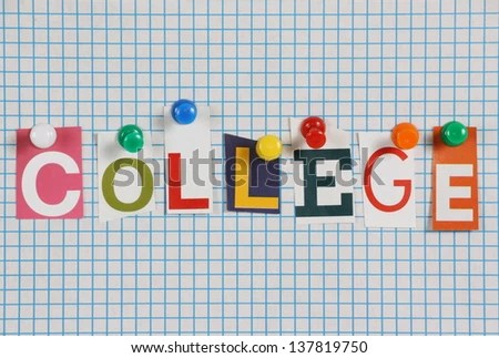 Word College Cut Out Magazine Letters Stock Photo (100 Legal - lined paper background for word