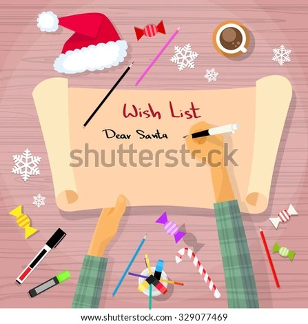 Merry Christmas Wish List Santa Clause Stock Vector 329077469