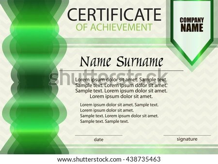 Green Certificate Achievement Diploma Template Horizontal Stock
