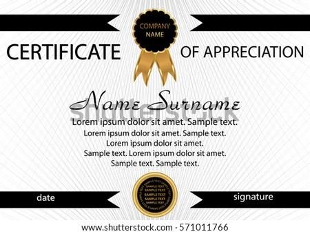 Template Certificate Appreciation Elegant Background Winning Stock - sample certificate of appreciation