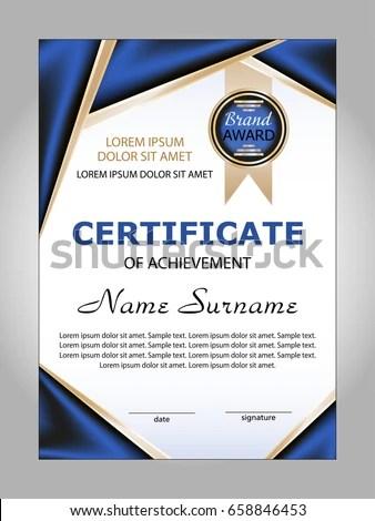 Certificate Achievement Award Winner Vector Illustration Stock