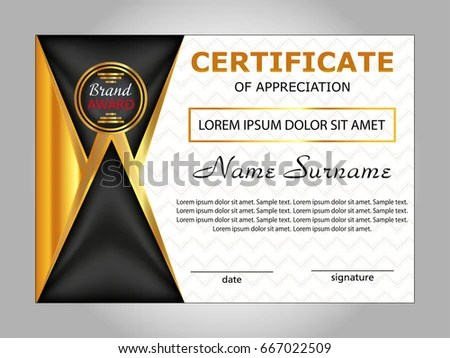 Design Certificate Appreciation Diploma Horizontal Template Stock - sample certificate of appreciation