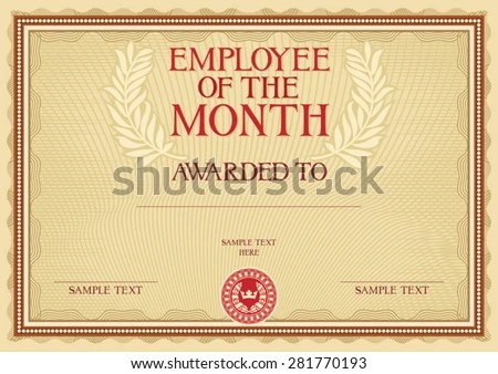Employee Month Certificate Template Stock Vector (Royalty Free - employee certificate sample