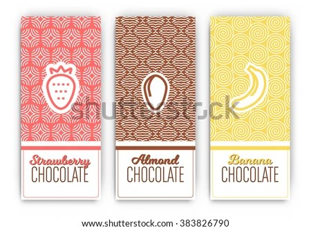 Chocolate Packaging Set Collection Vertical Designs Stock Vector - vertical designs