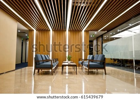 3d Perspective Wallpaper Office Waiting Area Sofas Armchairs Large Stock Photo
