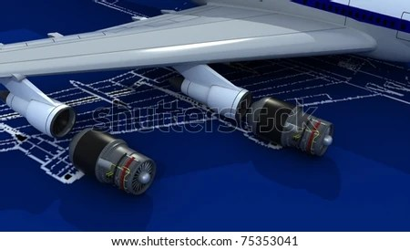 Image Passenger Airplane Engineering Blueprint Jet Stock - copy blueprint engines how to