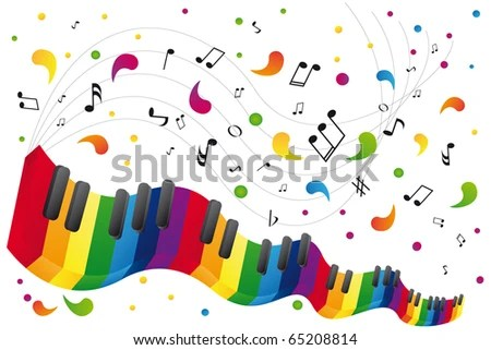 Music Background Music Notes Piano Keyboard Stock Vector HD (Royalty