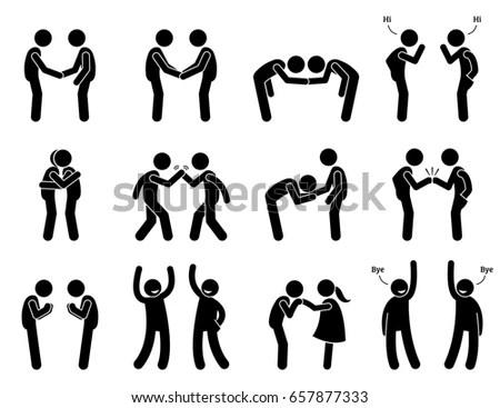 People Meeting Greeting Gestures Etiquette Artwork Stock