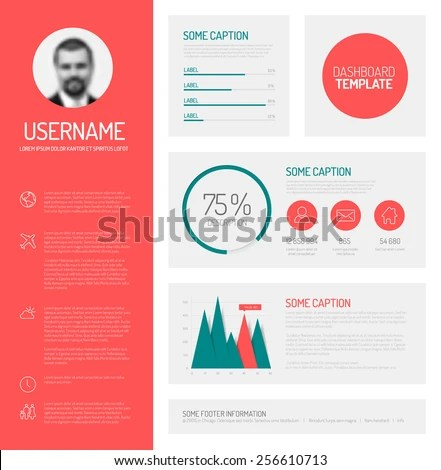 Simple Profile Dashboard Template Flat Design Stock Vector (Royalty