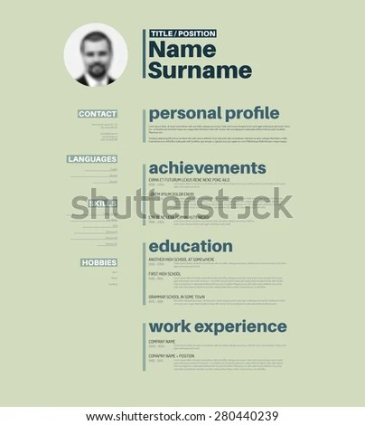 Vector Minimalist Cv Resume Template Nice Stock Vector (2018 - Nice Resume Template