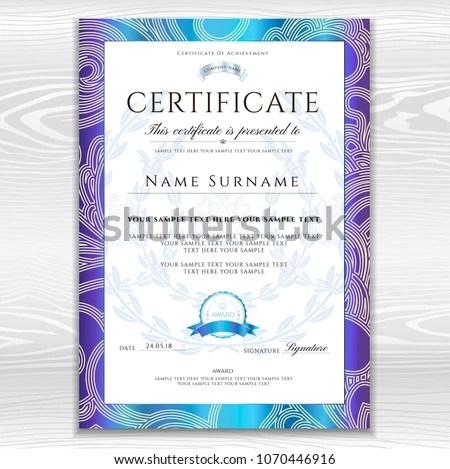 Certificate Template Printable Editable Design Diploma Stock Vector - editable certificate templates