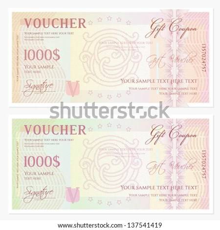 Voucher Gift Certificate Template Guilloche Pattern Stock Photo