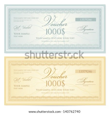 Voucher Gift Certificate Coupon Ticket Template Stock Vector - money coupon template