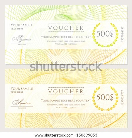 Gift Certificate Voucher Coupon Template Colorful Stock Photo (Photo