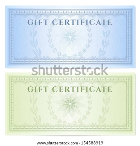 Gift Certificate Voucher Coupon Template Guilloche Stock - money coupon template