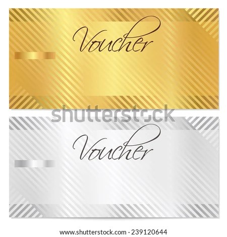 Voucher Gift Certificate Coupon Template Stripe Stock Vector - money coupon template