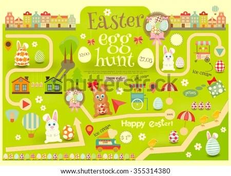 Easter Invitation Card Easter Egg Hunt Stock Vector 355314380