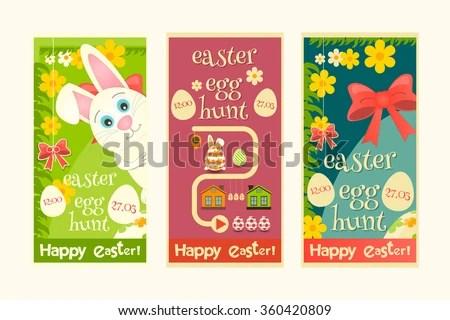 Easter Invitation Cards Set Mini Poster Stock Photo (Photo, Vector