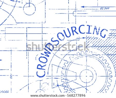 Crowdsourcing Word On Machine Graph Paper Stock Vector 568277896