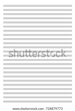 Vector Blank Sheet Music Paper Large Stock Vector 728879773