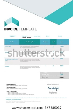 Minimal Business Invoice Template Design Stock Vector 367685039 - business receipts template