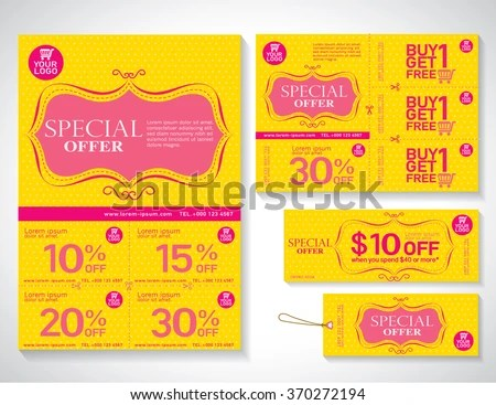 Vector Eco Flyer Brochure Promotions Coupon Stock Vector 425812288 - coupon flyer