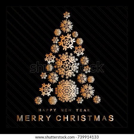Abstract Christmas Tree Background Snowflake On Stock Vector