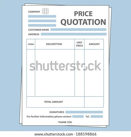 Illustration Blank Sale Price Quotation Form Stock Photo (Photo
