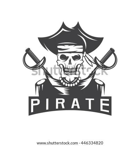 Skull Captain Pirate Hat Swords Vector Stock Vector 446334820