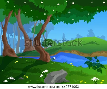 Cartoon Spring Background Game Art Stock Vector 662771053 - Shutterstock