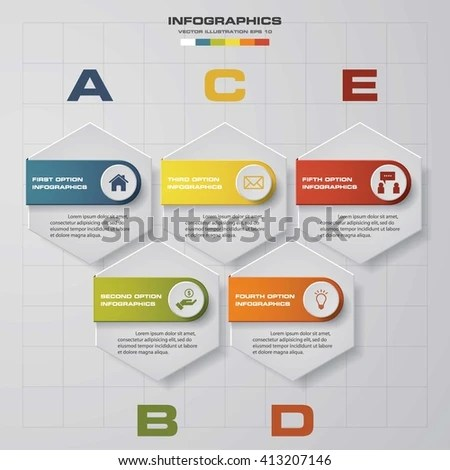 5 Steps Chart Layout Sample Textdata Stock Vector 413207146