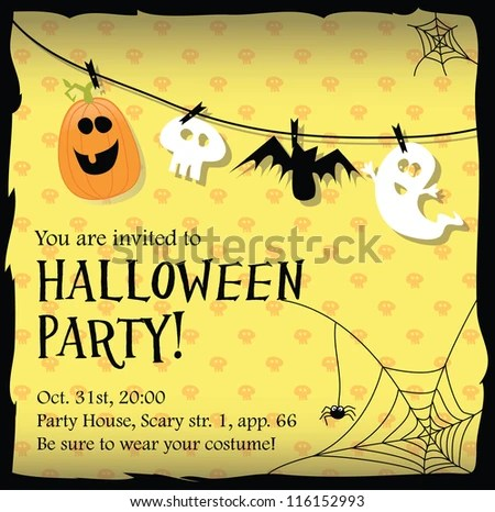 Halloween Party Invitation Card Stock Vector (2018) 116152993 - invitation for halloween party