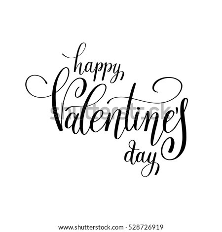 Happy Valentines Day Handwritten Lettering Holiday Stock Vector
