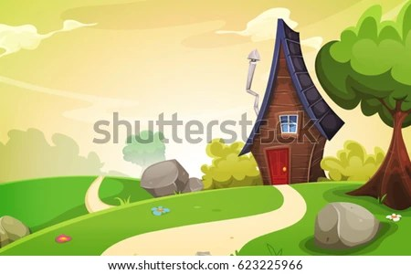 House Inside Spring Landscape Illustration Cartoon Stock Vector