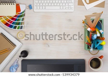 Graphic Designer Desk Essentials Top View Stock Photo (Edit Now
