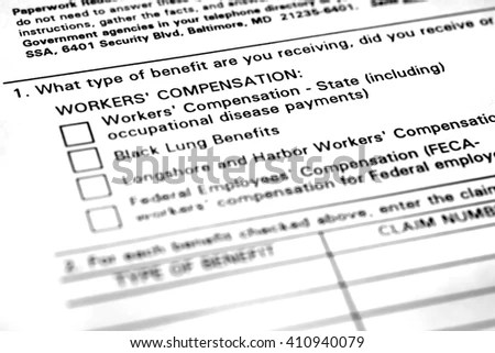 Workers Compensation Form Benefits Injured Worker Stock Photo