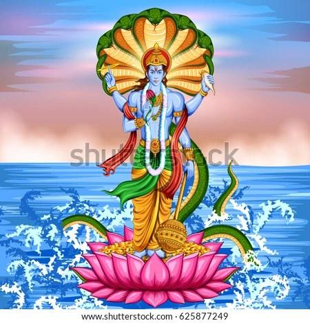 Lord Krishna Animated Wallpapers Hd Illustration Lord Vishnu Standing On Lotus Stock Vector