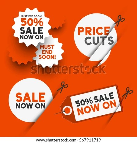 White Sale Signs Discount Price Cut Stock Vector HD (Royalty Free - sale signs
