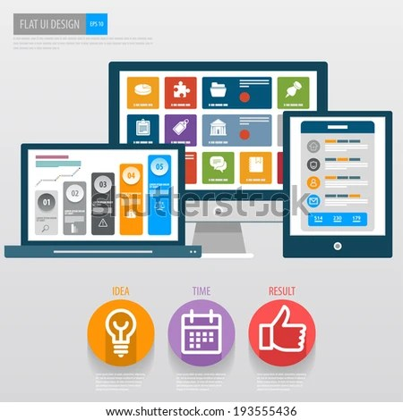 Flat Ui Design Responsive Web Template Stock Vector (2018) 193555436 - Responsive Media