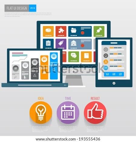 Flat Ui Design Responsive Web Template Stock Vector (2018) 193555436 - Responsive Media