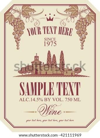 Wine Label Landscape Vineyards Italian Village Stock Vector - wine label