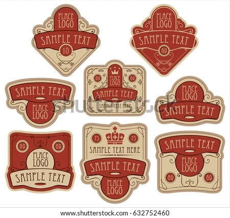 Set Vector Ornate Labels Templates Baroque Stock Vector HD (Royalty