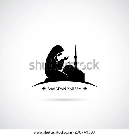 Muslim Girl Namaz Wallpaper Muslim Woman Praying Symbol Vector Illustration Stock
